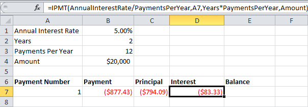 loan amortization schedule in ms excel