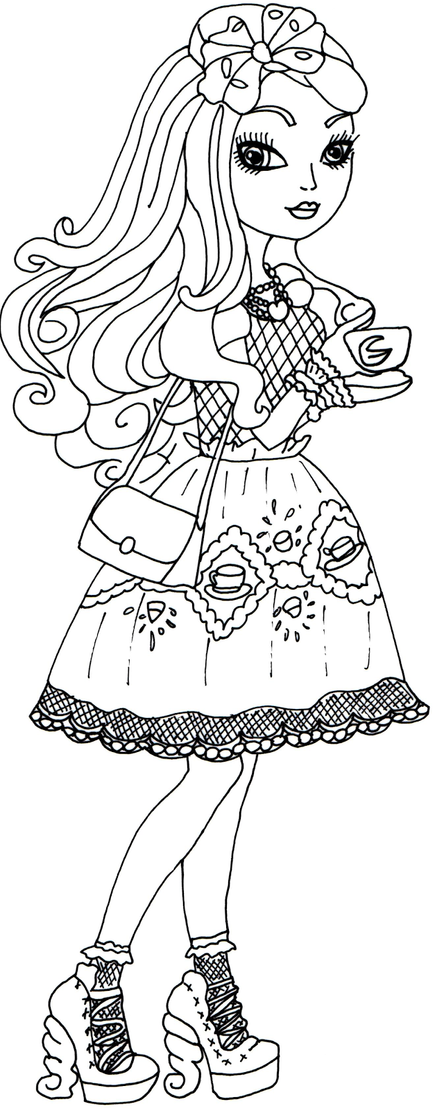 Free Printable Ever After High Coloring Pages: Apple White
