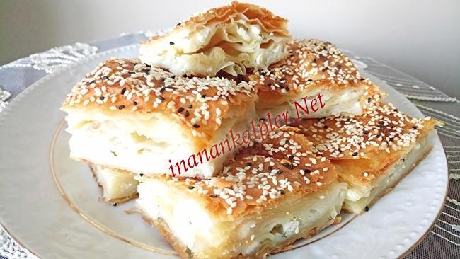 Fırında El Açması Peynirli Tepsi Böreği - inanankalpler.net