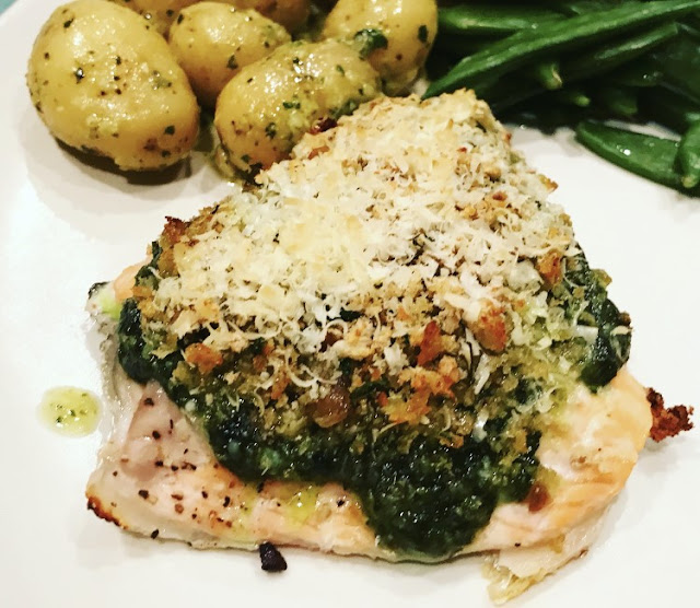 Salmon with a Pesto & Parmesan Crust
