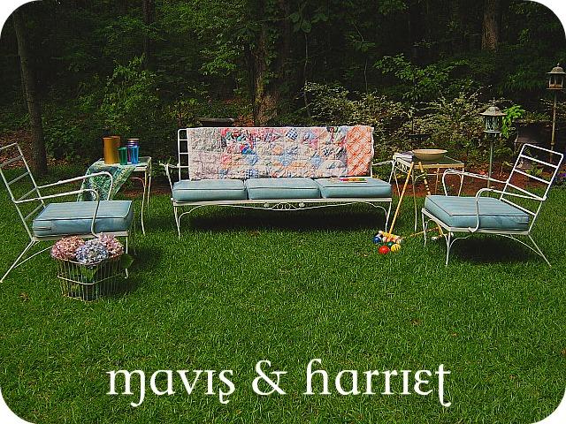 Mavis Harriet Vintage Patio Furniture Sofa Chair Tables