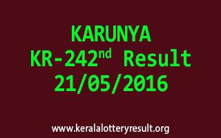 KARUNYA KR 242 Lottery Result 21-5-2016