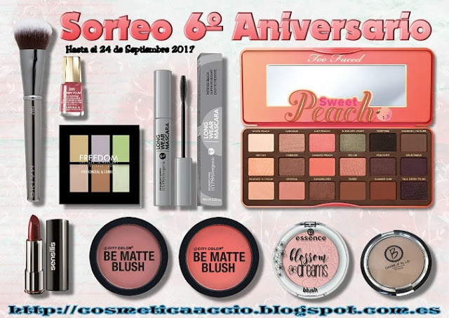 SORTEO del 6º Aniversario del Blog: Too Faced, City Color, Bell, Maiko, Sensilis, etc!