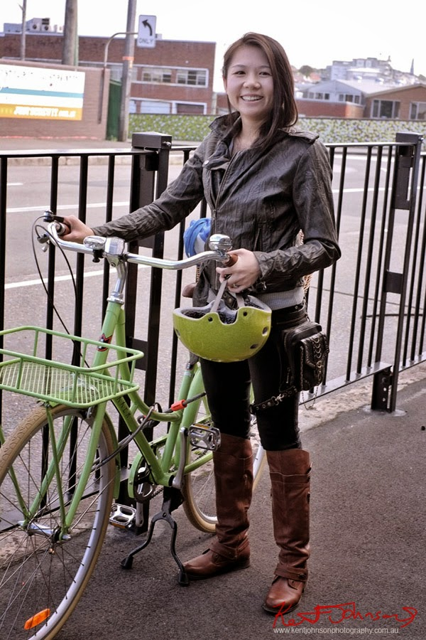 Cycling in Inner West Style, Ridding Boots, Jeans, Black Bag and Jacket - Photo by Kent Johnson for Street Fashion Sydney