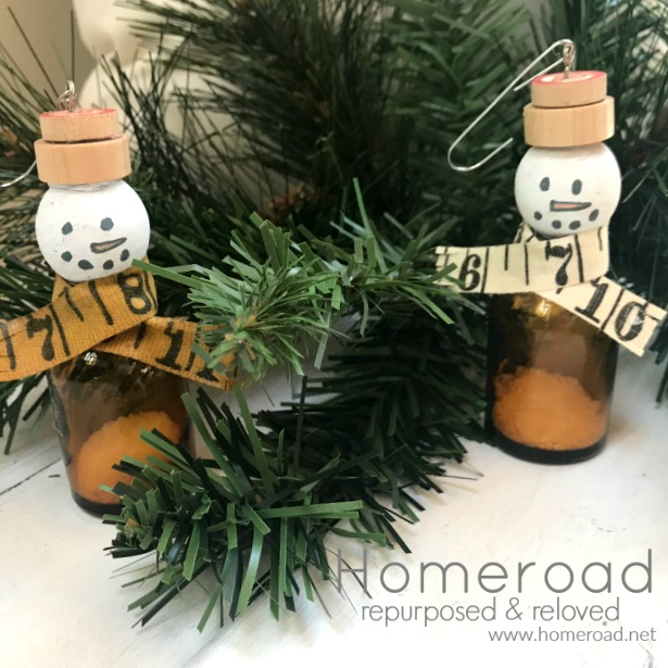 Amber Bottle Snowman Ornaments
