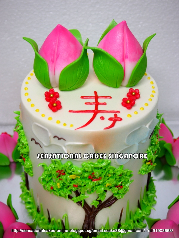 Longevity Shou Tao Birthday Cake Singapore Rainbow