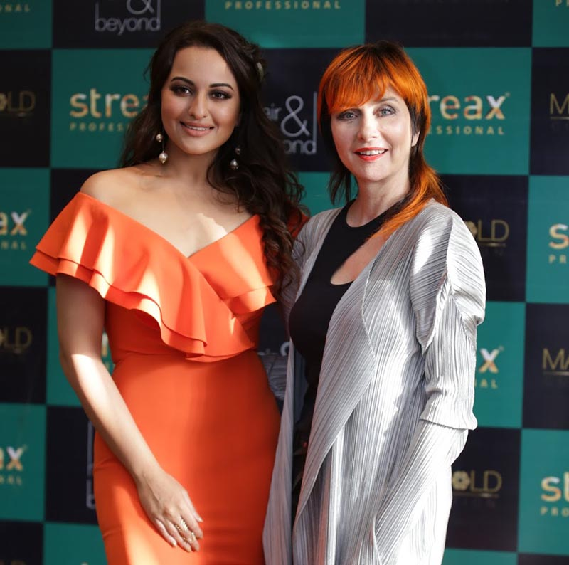 Showstopper Sonakshi Sinha and Celebrity Hair Stylist Yolly Ten Koppel at the launch of Streax Summer Collection Marigold in Delhi