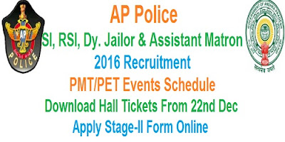 AP Police SI, RSI, Dy. Jailor PMT/PET Schedule 2016