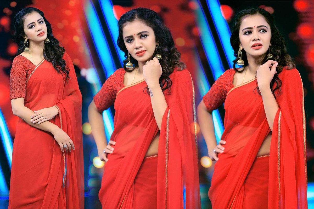 VJ Anjana Rangan Red Saree Hot Photoshoot