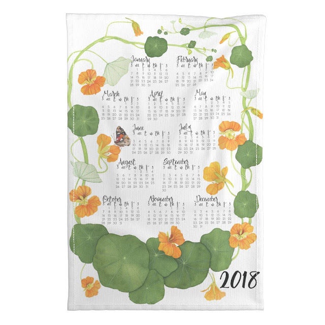 tea towel calendar, watercolor, nasturtiums, spoonflower, Anne Butera, My Giant Strawberry