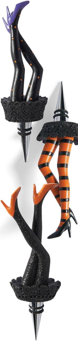 Grandin Road Set of 3 Witch Leg Bottle Stoppers