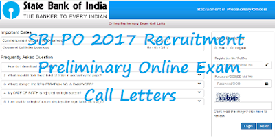 SBI PO 2017 Recruitment call Letters