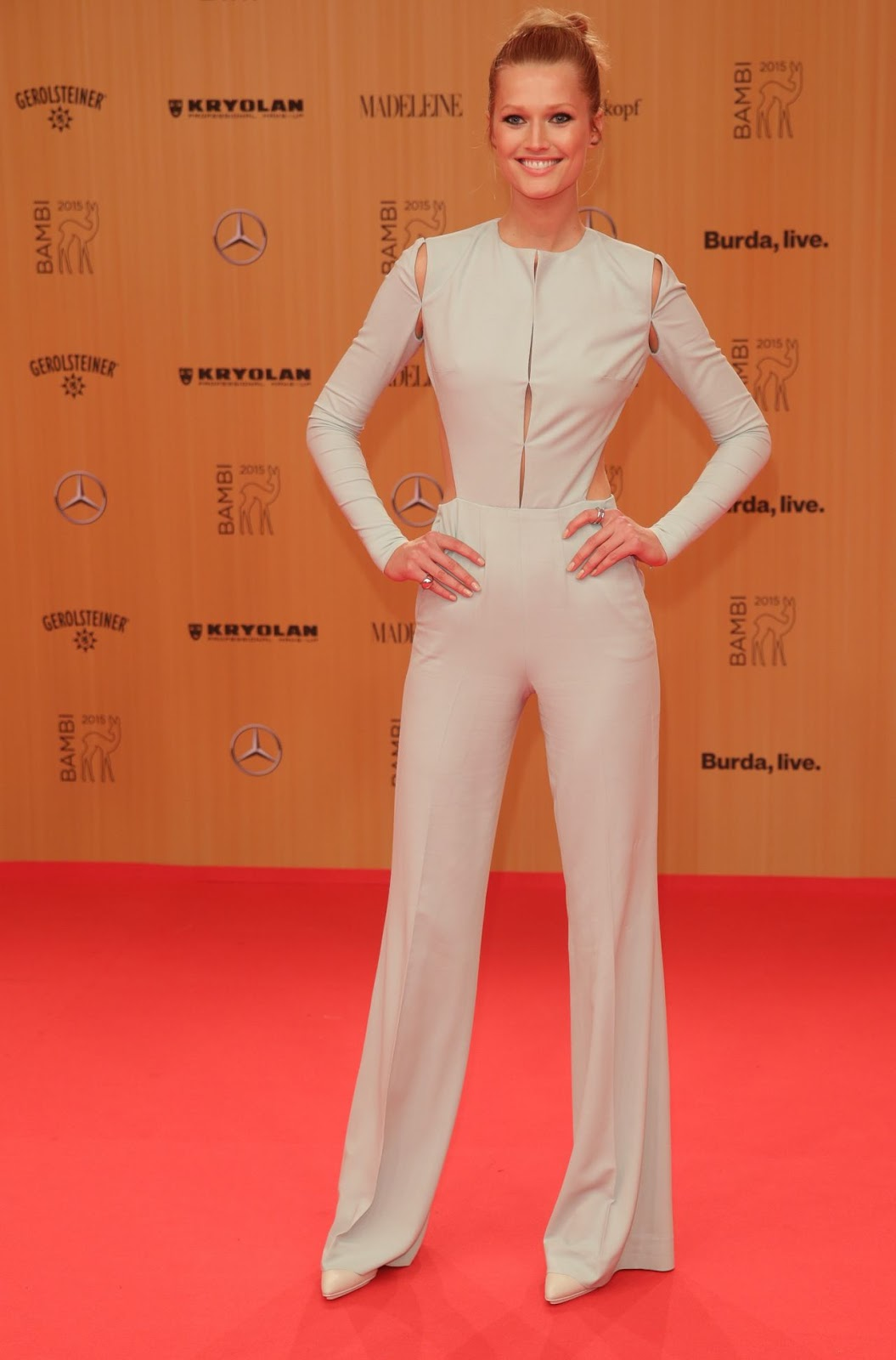 Toni Garrn in a backless jumpsuit at the 2015 Bambi Awards in Berlin