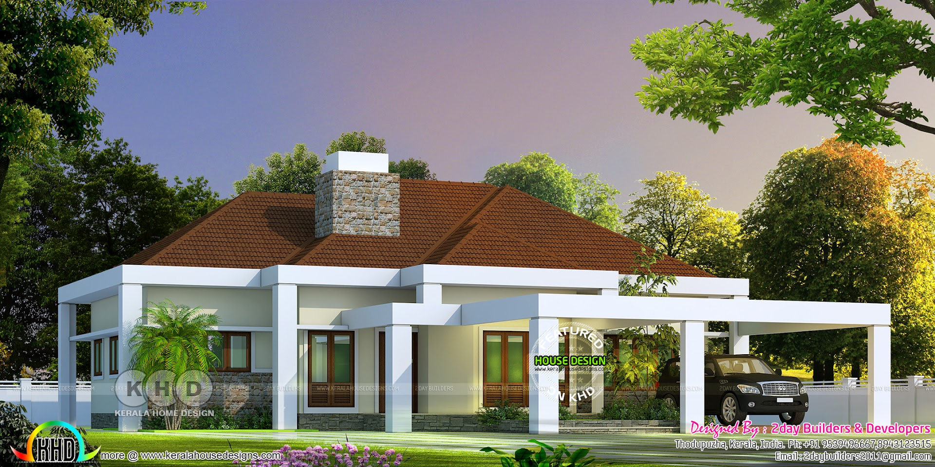 Sloped Roof Kerala Home Bungalow 2200 Sq Ft Kerala Home Design And Floor Plans 8000 Houses