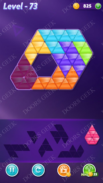 Block! Triangle Puzzle 6 Mania Level 73 Solution, Cheats, Walkthrough for Android, iPhone, iPad and iPod
