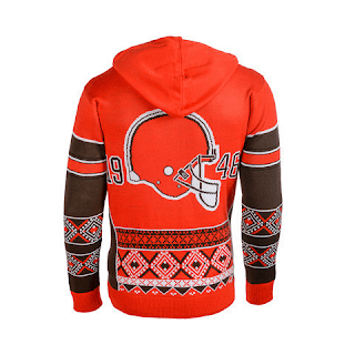 CLEVELAND BROWNS OFFICIAL NFL BIG LOGO HOODED SWEATSHIRT BY KLEW-Backside