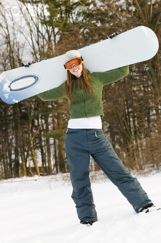 7e54d8e598d4 Happy girl who can t carry snowboard and her squirrel friend