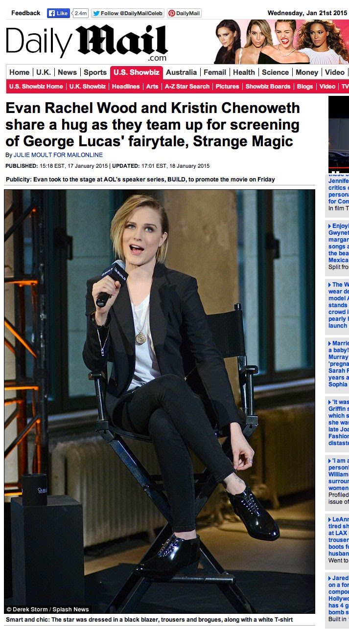 In the News: Evan Rachel Wood in the UK Daily Mail