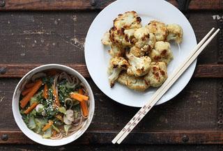 Cauliflower Leaf Miso Soba Soup