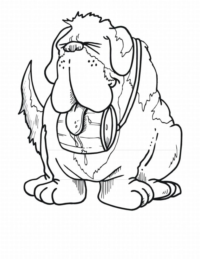 st bernard coloring pages - st bernard dog coloring child coloring