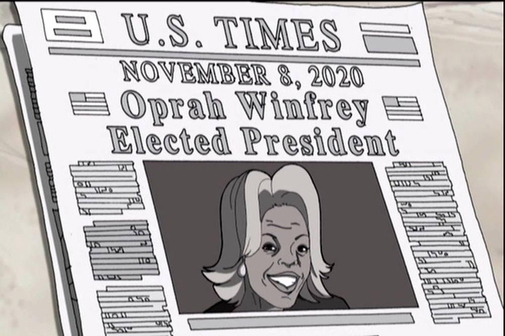 """Desenho animado 'The Boondocks' """"prevê"""" eleição de Oprah Winfrey como presidente dos Estados Unidos (The Boondocks"""
