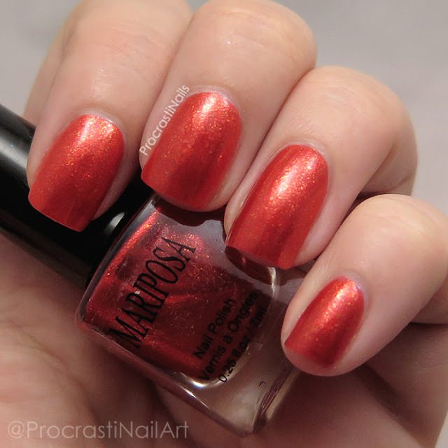 Swatch of Dollarama Mariposa Orange Flakie Nail Polish