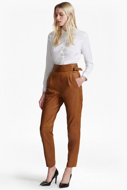 french connection leather trousers, tan leather trousers,