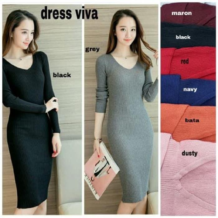 Baju Dress Wanita Lengan Panjang Dress Simple Lmr Shop