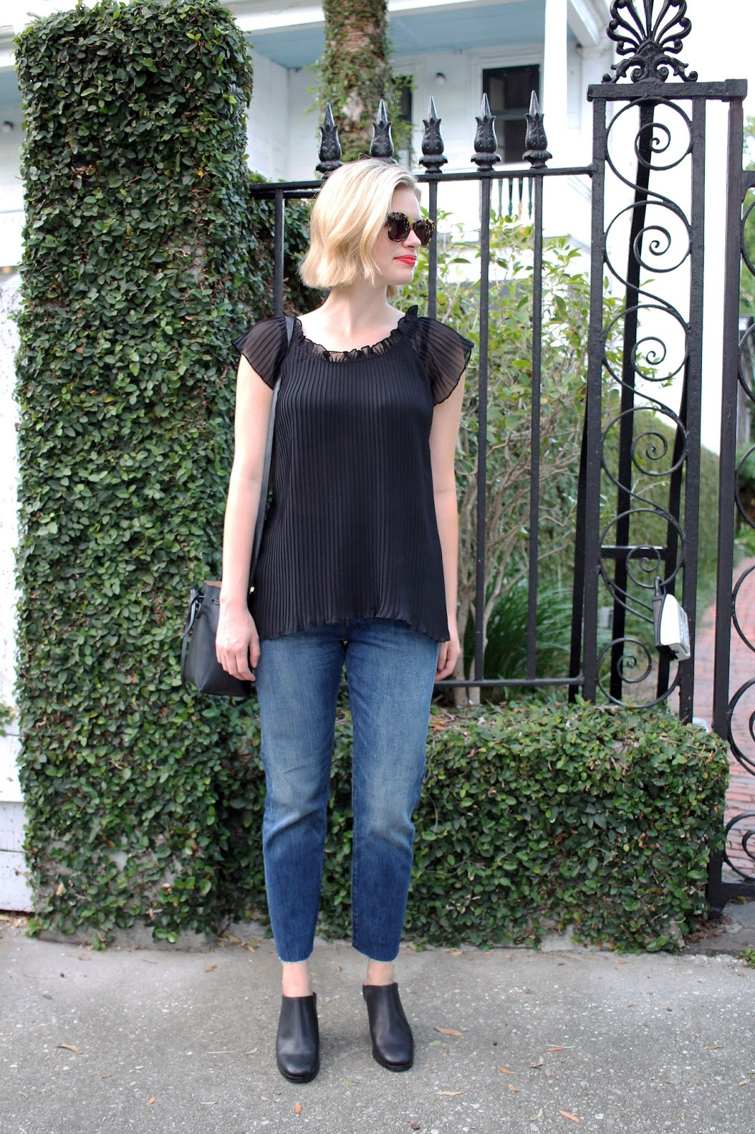 Levi Wedgie Jeans + Pleated Top