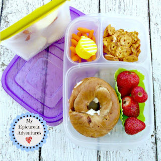 My Epicurean Adventures: Lunch Box Fun 2015-16: Weeks #23-28. Lunch box ideas, school lunch ideas, lunches, bagel sandwich
