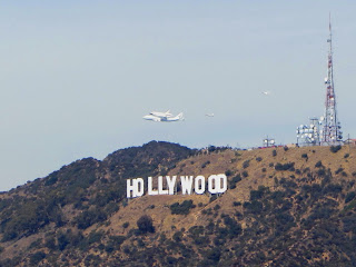 Space Shuttle Endeavor Flies over the Hollywood Sign