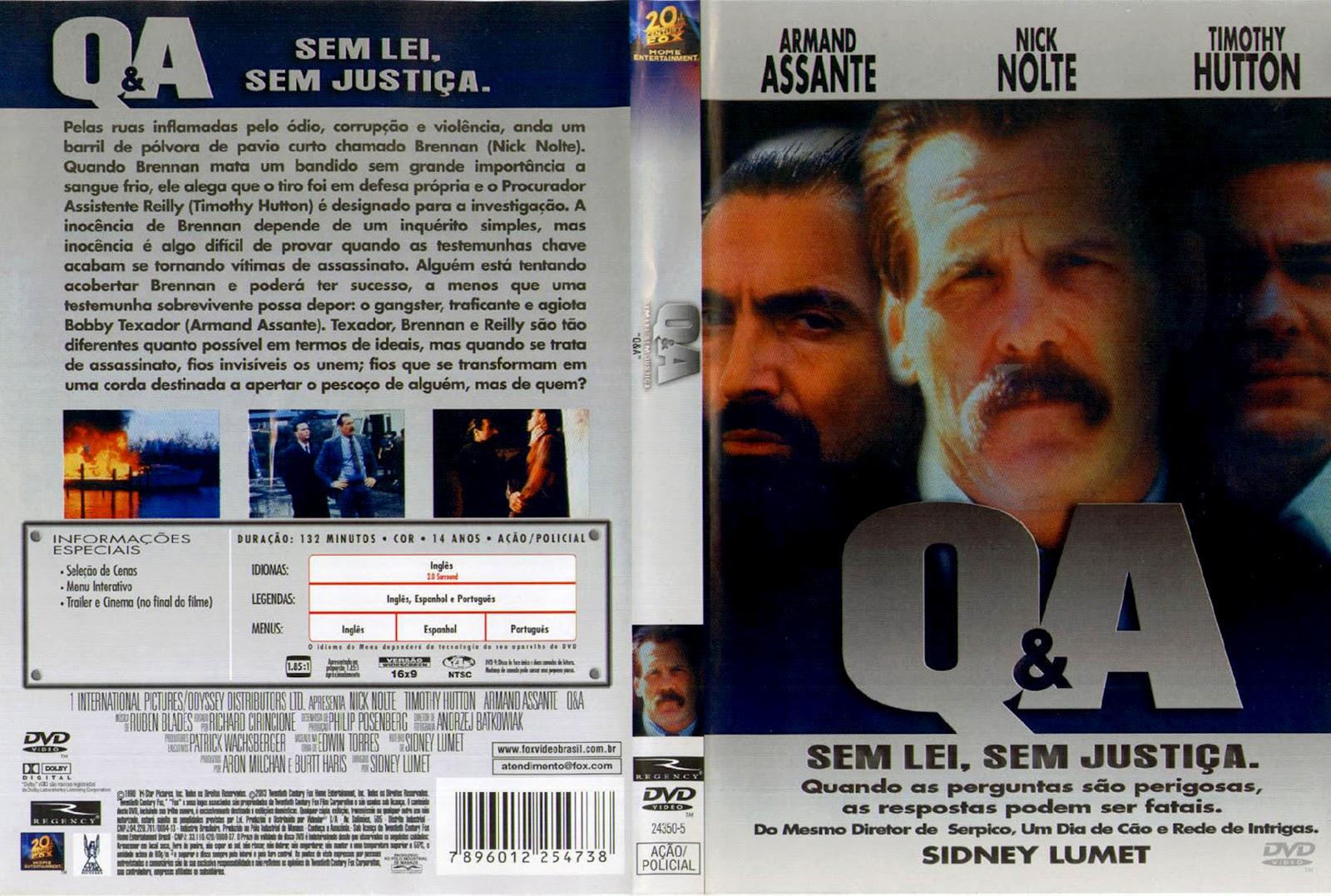 Capas Medina - Somente Capas de DVD: Q&A - Sem Lei, Sem Justiça.