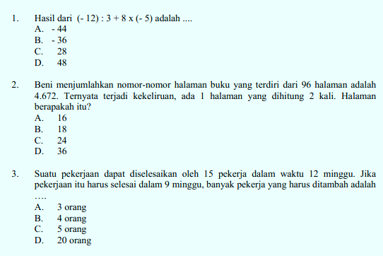 Download Soal Dan Kunci Jawaban Latihan Us Dan Smp Mts Berdasarkan Kisi Kisi Un Smp Mts Tahun