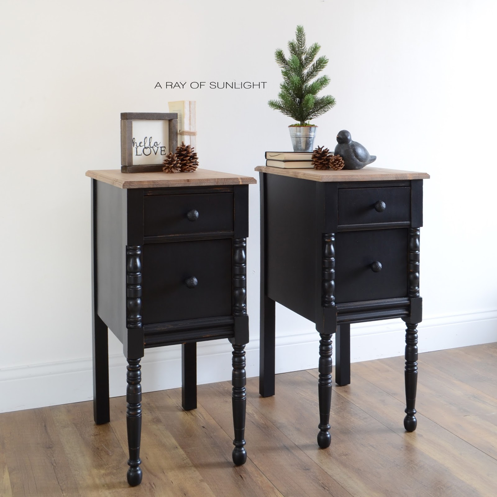 Black Vintage Farmhouse Nightstands with Rustic Wood Tops by A Ray of Sunlight in Country Chic Paint's Liquorice