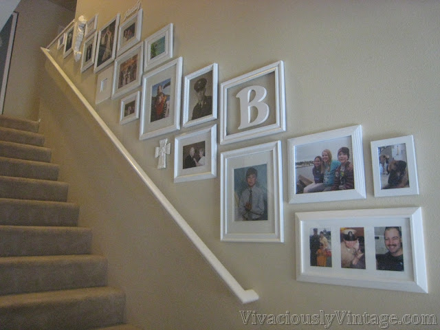 Spray Painted Stairway Gallery Wall DIY