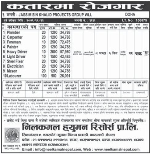Jobs For Nepali In Qatar, Salary -Rs.72,475/
