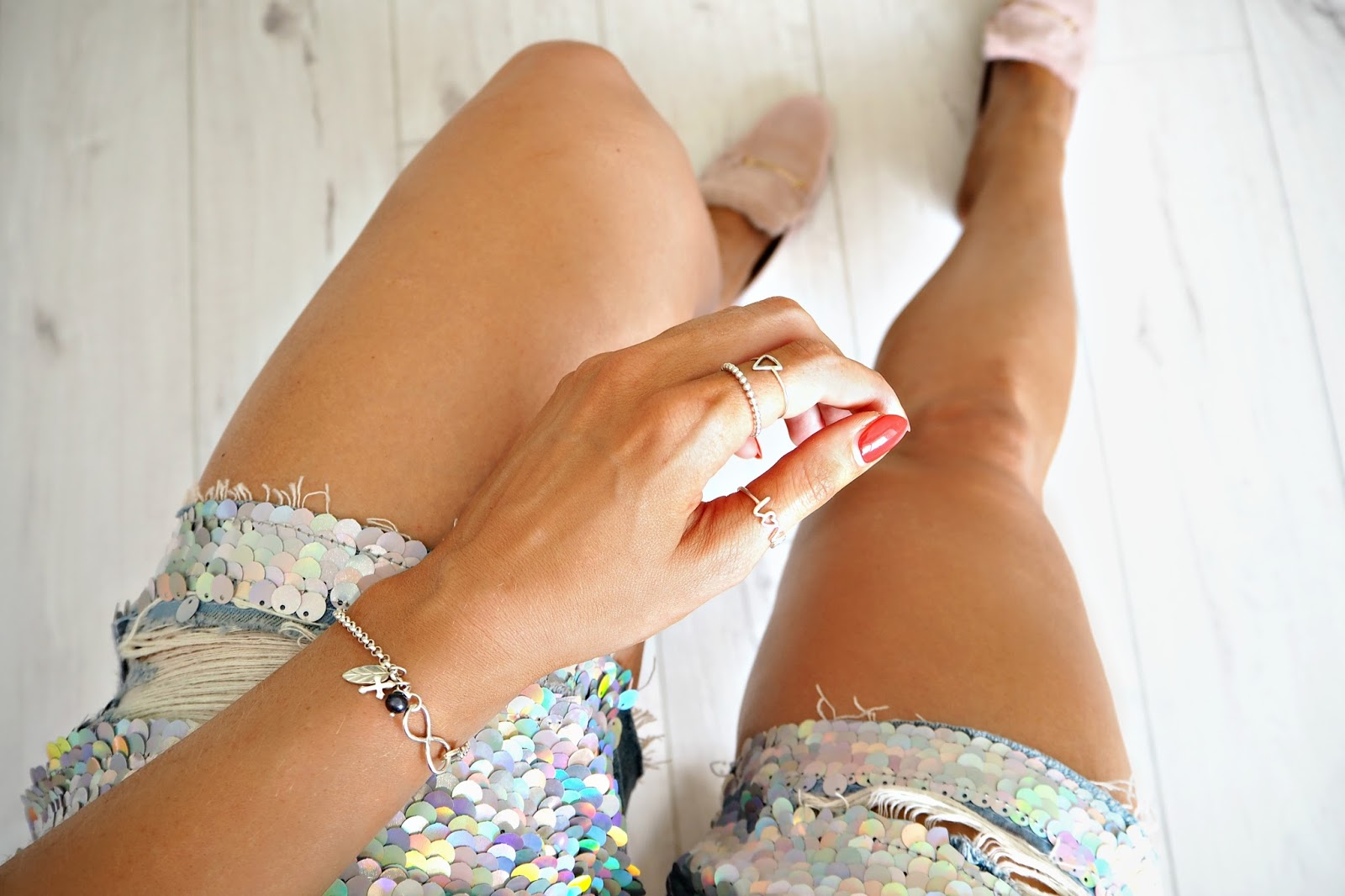 Jewellerybox.co.uk sterling silver bracelet and rings and mermaid shorts
