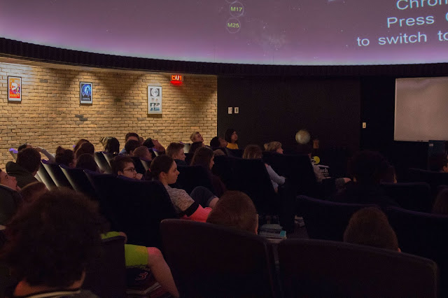Mr. Daniels 8th-grade classes engaged in Mr. Davies lesson in the Blake Planetarium covering the distances of galaxies, nebulae and star clusters and how we get a better look at them. Photo by Emily Goonan.