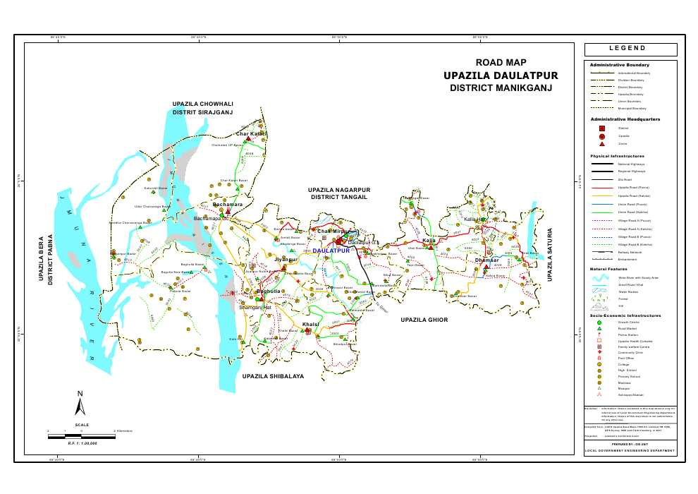Daulatpur Upazila Road Map Manikganj District Bangladesh