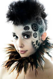 Steampunk makeup special fx. use a gear stencil and airbrush to achieve this cool look