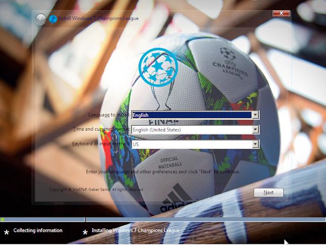 احدث نسخ ويندوز7 المعدلة خصيصا لمحبى الكوره والدورى الاروبى لعام 2018 Windows 7 Champions League