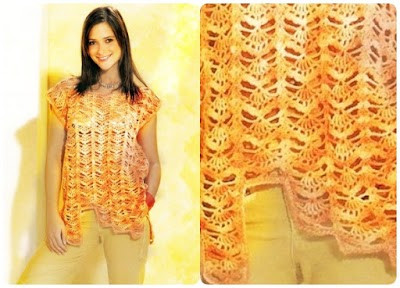 Top crochet sin mangas con borde inferior irregular