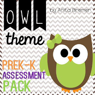 Owl themed assessment pack for PreK-Kindergarten