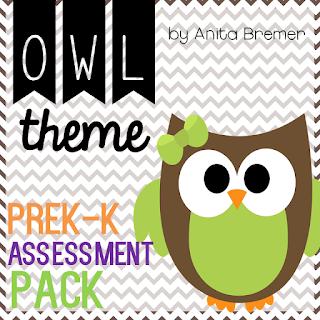 Owl themed assessment pack for PreK-Kindergarten