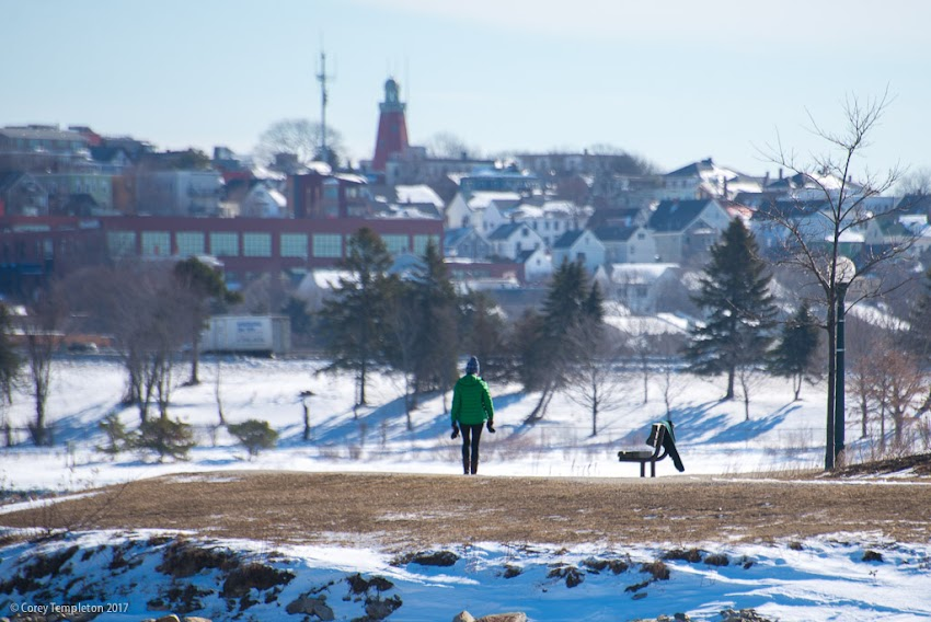 Portland, Maine USA March 2017 photo by Corey Templeton of Portland Trails path walk around Back Cove and Baxter Boulevard winter midday.