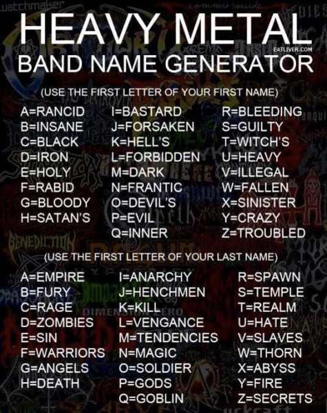 Bob's Blog: Heavy Metal band name generator