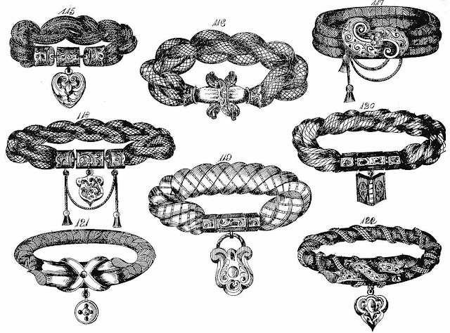 1864 hairwork sold in stores, women's fashions made from human hair, an illustration