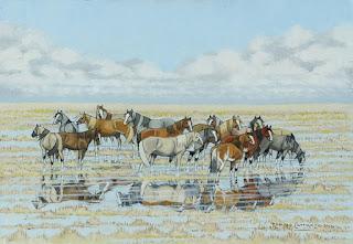 corceles-en-vistas-de-playas-y-campos pinturas-paisajes-y-caballos