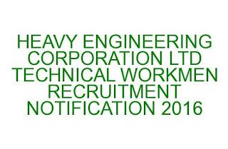 HECL TECHNICAL WORKMEN RECRUITMENT NOTIFICATION 2016