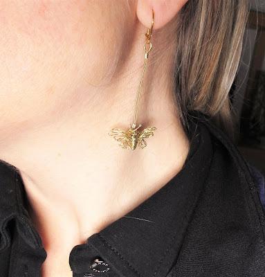 Wire butterfly earrings, contemporary earrings